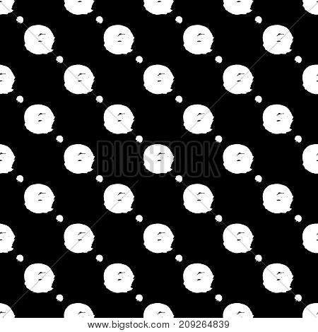 Vector seamless pattern. Black and white round brush strokes. Grungy hand drawn circles. Abstract paint spots, polka dot. Simple style