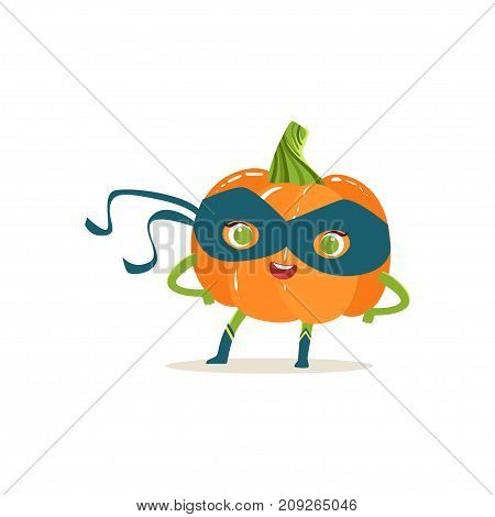 Cheerful cartoon character of superhero pumpkin in classic comics blue mask with arms akimbo. Vegetable with super powers. Flat vector isolated on white. For card, kid t-shirt, book illustration.