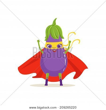 Cartoon character of superhero eggplant in red cape and yellow mask with hands up. Vegetable hero vigilante. Healthy nutrition. Flat vector isolated on white. For card, kid t-shirt, book illustration.