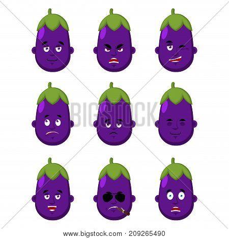 Eggplant Face Set. Sleeping And Evil Emotion Avatar. Bewildered And Sad Emoji.  Purple Vegetable Fea