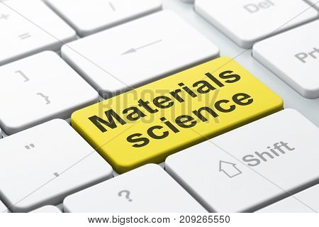 Science concept: computer keyboard with word Materials Science, selected focus on enter button background, 3D rendering