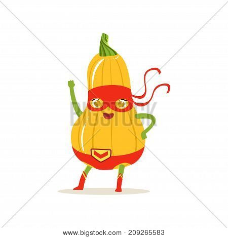 Cartoon character superhero butternut squash in classic comics costume and red mask with hand up. Fresh vegetable hero avenger. Flat vector isolated on white. For card, kid t-shirt, book illustration.