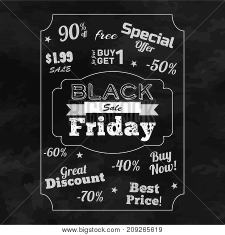 Black friday sale background with taglines on theme of special offer in monochrome design flat vector illustration