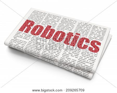 Science concept: Pixelated red text Robotics on Newspaper background, 3D rendering