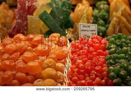 Food market in the Spanish city of Barcelona