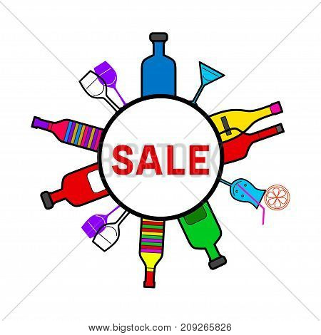 Round frame sale of alcohol. Circle label with bottles and glasses. Sticker for bar or alcohol store. - Stock vector