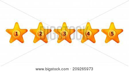 Five gold stars isolated on white. Rating voice of user. Rank opinion assessment of buyer. - Stock vector
