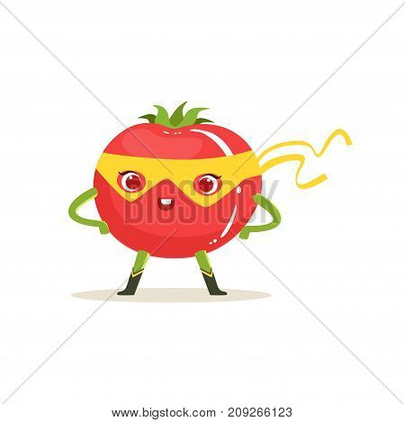Funny cartoon character of superhero tomato in yellow mask with arms akimbo. Fresh vegetable hero vigilante. Healthy nutrition. Flat vector isolated on white. For card, kid t-shirt, book illustration.