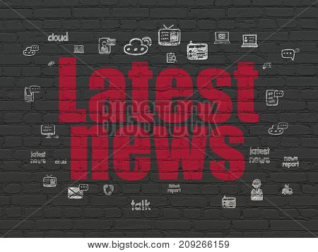 News concept: Painted red text Latest News on Black Brick wall background with  Hand Drawn News Icons