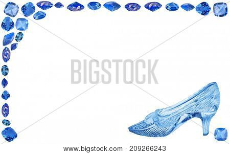 woman glass shoe with in blue sapphire frame isolated on white background