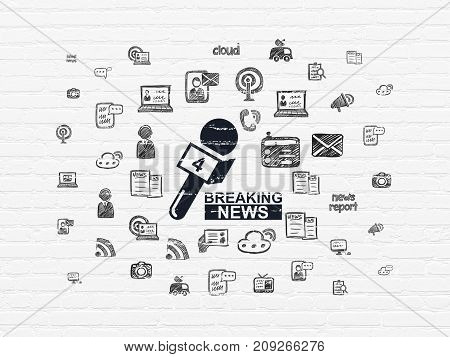 News concept: Painted black Breaking News And Microphone icon on White Brick wall background with  Hand Drawn News Icons