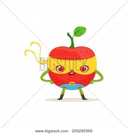 Funny cartoon character of superhero red apple in comics costume and yellow mask with arms akimbo. Fresh fruit hero avenger. Flat vector isolated on white. For card, kid t-shirt, book illustration.