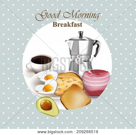 Healthy Breakfast Retro Style Card. Avocado, Toasts, Coffee And Eggs Vector. French Style Breakfasts