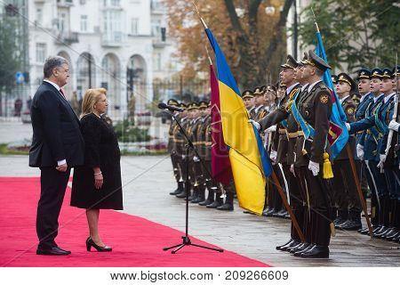 Petro Poroshenko And Maltese President Marie Louise Coleiro Preca
