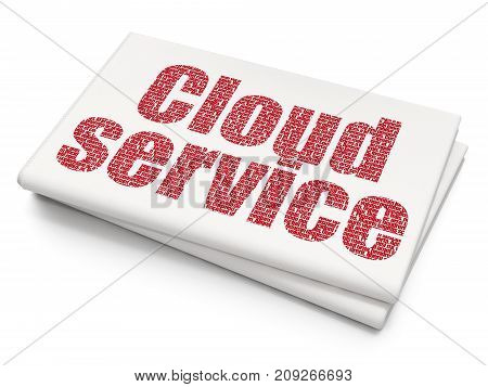 Cloud computing concept: Pixelated red text Cloud Service on Blank Newspaper background, 3D rendering