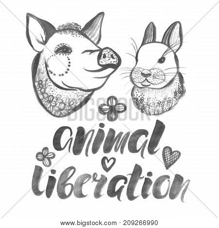 Animal liberation Watercolor poster with farm animals Pig and Rabbit