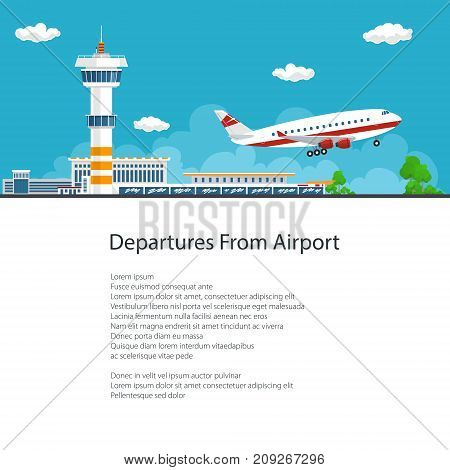 Airplane Takes Off from the Airport , Control Tower and Airplane on the Background of the City and Text, Poster Brochure Flyer Design, Air Travel and Transportation, Vector Illustration