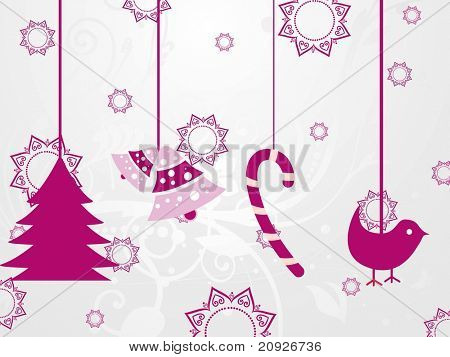 seamless floral pattern background with hanging christmas object