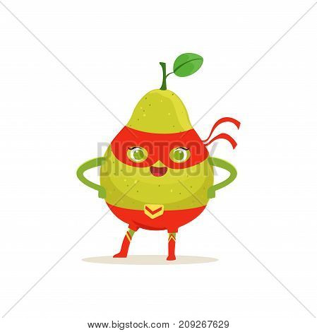 Cheerful cartoon character of comics superhero pear in red mask with arms akimbo. Fresh fruit hero avenger. Healthy nutrition. Flat vector isolated on white. For card, kid t-shirt, book illustration.