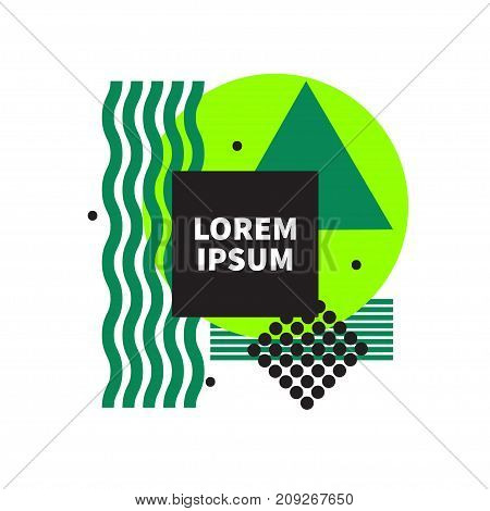 Abstract green geometric background with black frame. - Stock vector