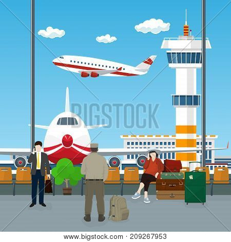 View on Airplanes and Control Tower , Waiting Room at the Airport with Passengers , People Waiting for Boarding a Plane, Travel Concept, Vector Illustration