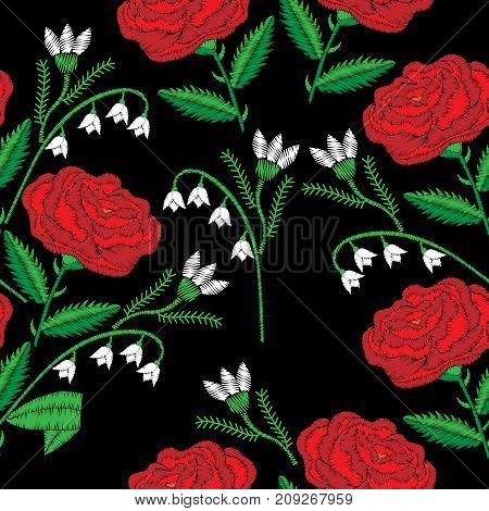 Seamless pattern with red rose and lily of the valley embroidery stitches imitation. Satin stitch imitation background vector illustration.