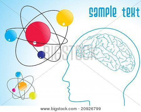 atomic structure with human brain, vector illustration