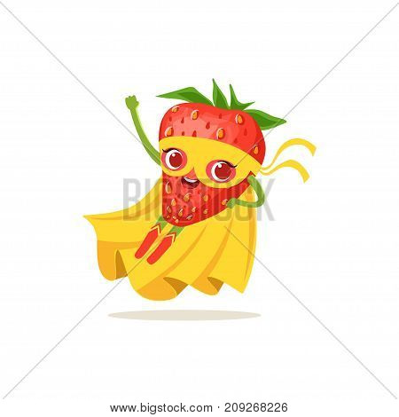 Cartoon character of superhero strawberry in yellow cape and mask. Flying up. Fresh berry hero vigilante. Healthy nutrition. Flat vector isolated on white. For card, kid t-shirt, book illustration