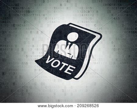 Politics concept: Painted black Ballot icon on Digital Data Paper background