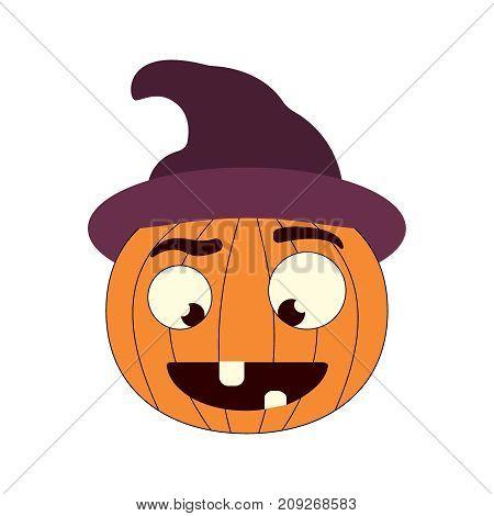 Halloween pumpkin in witch hat. Vector flat illistration EPS10