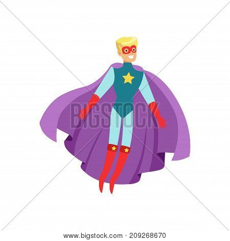 Male superhero in classic comics costume with purple cape, red boots and mask. Smiling flat cartoon character with super powers. Friendly flying blond man hero. Vector illustration isolated on white