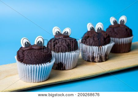 Chocolate Muffins With Edible Eyes
