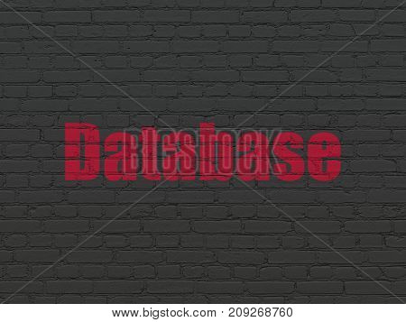Database concept: Painted red text Database on Black Brick wall background