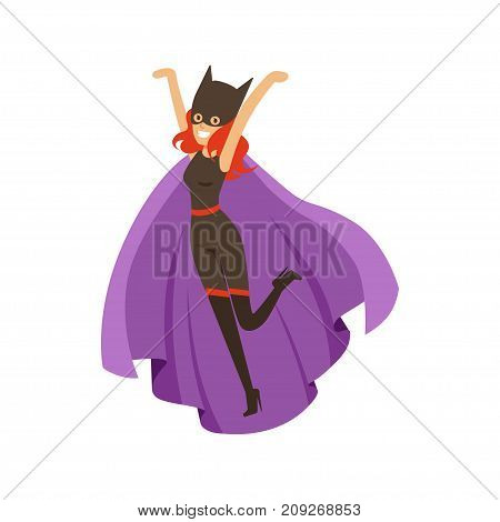Female superhero in classic comics costume with purple cape and black helmet with cat ears. Smiling flat cartoon character with super powers. Friendly woman. Vector illustration isolated on white