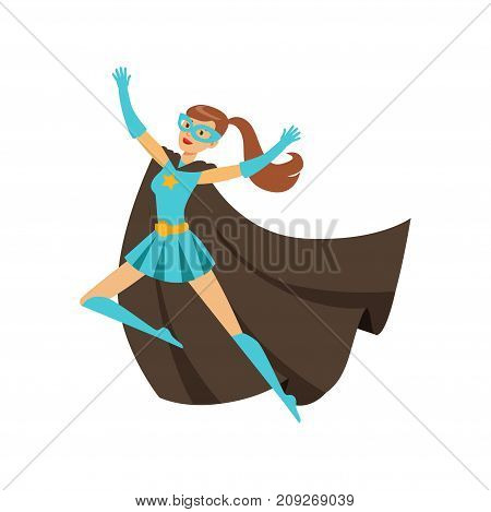 Female superhero in classic comics blue costume with black cape and mask. Smiling flat cartoon character with super powers. Friendly flying woman hero. Vector illustration isolated on white