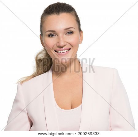 Portrait of a happy friendly smiling woman over white background. Pretty young adult female in pink jacket. Closeup face of an attractive adult girl.