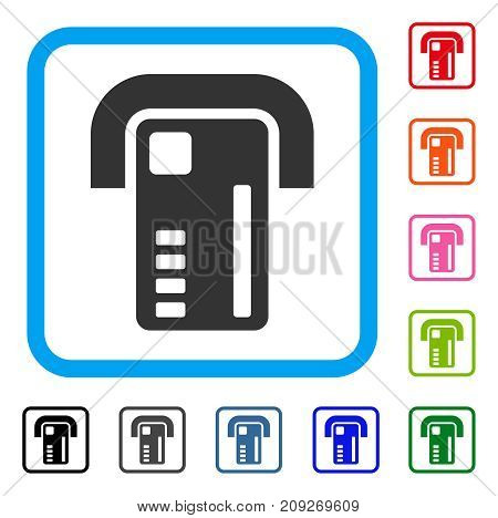 ATM Machine icon. Flat gray pictogram symbol in a light blue rounded frame. Black, gray, green, blue, red, orange color additional versions of ATM Machine vector.