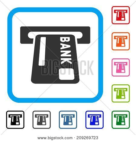 ATM Terminal icon. Flat gray iconic symbol inside a light blue rounded rectangular frame. Black, gray, green, blue, red, orange color versions of ATM Terminal vector. Designed for web and app UI.