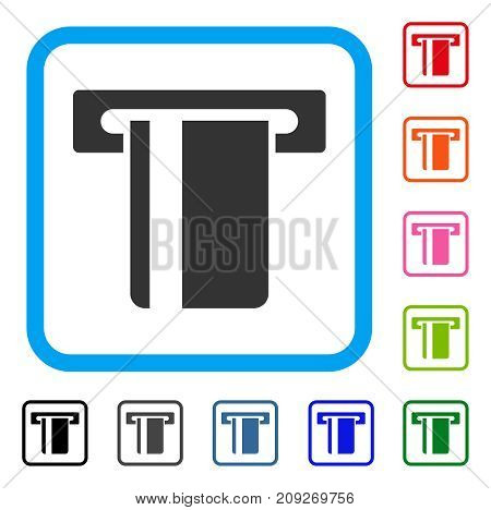 ATM Terminal icon. Flat grey pictogram symbol in a light blue rounded rectangle. Black, gray, green, blue, red, orange color variants of ATM Terminal vector.