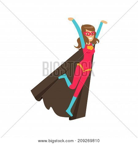 Female flying superhero in classic comics costume with black cape and mask. Smiling flat cartoon hero character with super powers. Friendly woman vigilante. Vector illustration isolated on white