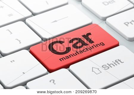 Industry concept: computer keyboard with word Car Manufacturing, selected focus on enter button background, 3D rendering