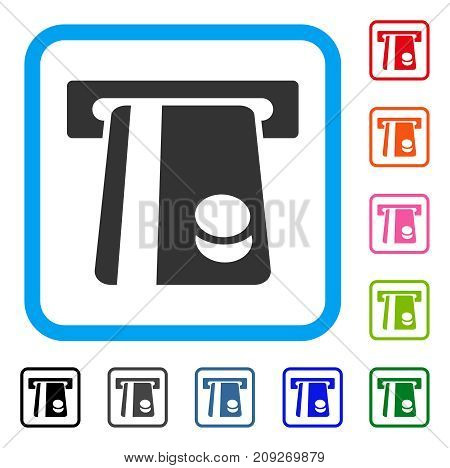 Automated Banking Service icon. Flat gray pictogram symbol in a light blue rounded square. Black, gray, green, blue, red, orange color versions of Automated Banking Service vector.