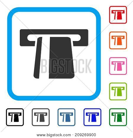 Automated Banking Service icon. Flat gray pictogram symbol in a light blue rounded rectangular frame. Black, gray, green, blue, red,