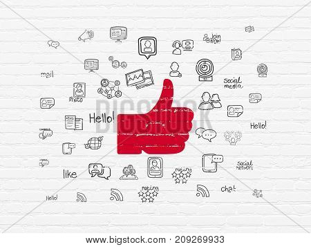 Social network concept: Painted red Thumb Up icon on White Brick wall background with  Hand Drawn Social Network Icons