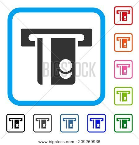Automated Banking Service icon. Flat grey pictogram symbol in a light blue rounded rectangle. Black, gray, green, blue, red, orange color versions of Automated Banking Service vector.