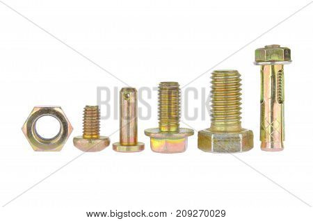Zinc bolts collection isolated on white background