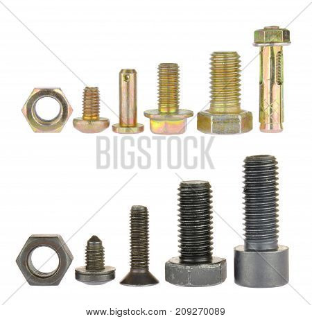Collection of black and zinc bolts. Isolated on white background