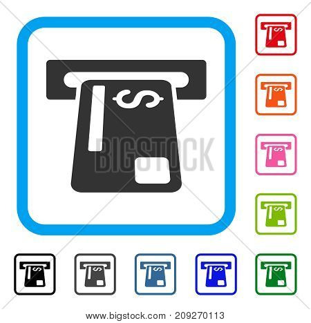 Bank Card Terminal icon. Flat grey pictogram symbol in a light blue rounded rectangle. Black, gray, green, blue, red, orange color variants of Bank Card Terminal vector.