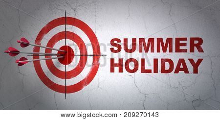 Success tourism concept: arrows hitting the center of target, Red Summer Holiday on wall background, 3D rendering