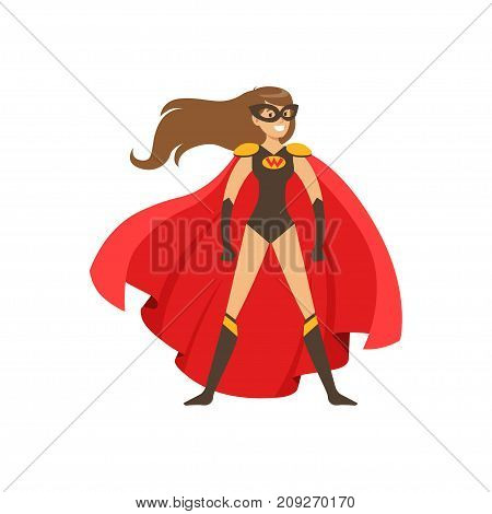Female superhero in classic comics black costume with red cape and mask. Smiling flat cartoon hero character with super powers. Friendly girl stands confidently. Vector illustration isolated.